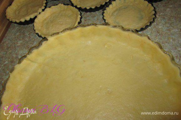 Затем тесто тонко раскатать, выложить в смазанные растительным маслом формы.