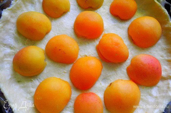 На основу разложить абрикосы, у меня пласт теста был достаточно тонким, и я не выпекала его предварительно в духовке, но всё же посоветую поставить корж (без абрикосов) минут на 5-10 в духовку, а затем уже заполнять его абрикосами и кремом. Я раскладывала срезом вниз, в следующий раз попробую срезом вверх. Залить кремом (на это у меня ушла половина крема). Сверху воткнула веточки розмарина, стараюсь использовать его где только можно.