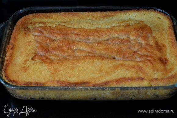Смазать прямоугольную форму слив. маслом.Вылить тесто в нее. Поставить в разогретую духовку на 180гр.Примерно на 30мин.проверяем центр зубочисткой.Дать остыть.