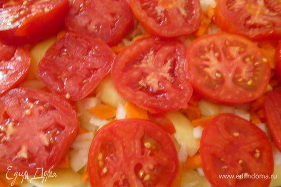 Затем выкладываем слой помидор,нарезанных не очень тонкими кружочками.
