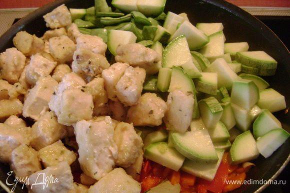 Фасоль и кабачок нарезать дольками, добавить к овощам на сковороду. Туда же положить курицу, цедру лимона, лавровый лист, посолить, перемешать, добавить горячего бульона или воды, чтобы покрывало 1/2 жидкостью. Накрыть крышкой и тушить 20-25 мин, периодически помешивая.