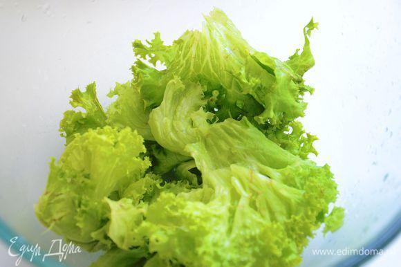Листья салата вымыть и обсушить, порвать.