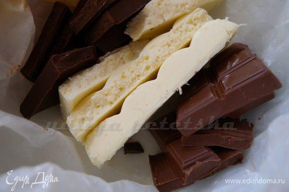 Растопить шоколад на водяной бане или в микро
