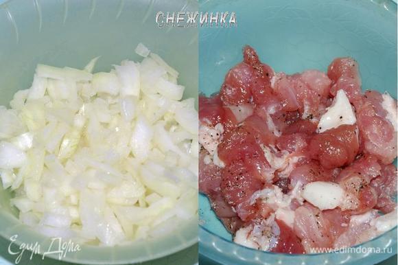 Лук и мясо нарезаем небольшим кубиком. Мясо солим, перчим по вкусу.