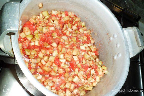 Теперь поэтапно выкладываем ингредиенты. Сначало масло,затем лук,помидоры,баклажаны и соль.Все перемешать.