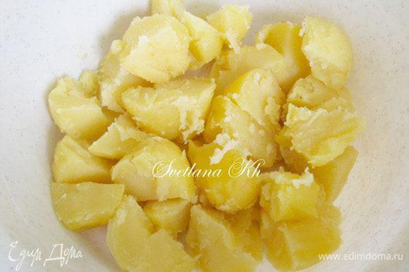 Картофель слегка остудить, очистить, размять тонкушкой или с помощью мясорубки. Блендер не использовать.
