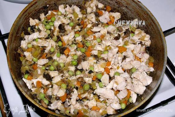 Теперь добавляем куриное филе и горошек.