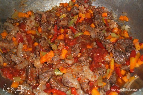 Когда овощи немного потушили, добавляем помидоры или томатную пасту, при этом я немного содсаливаю, добавляю щепотку сахара и специи. Все перемешать и потушить ещё минут 5-7