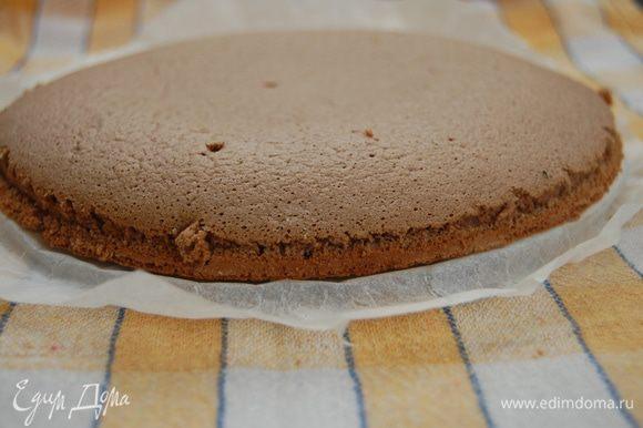 Выпекаем шоколадный бисквит. 10 минут при 220 гр. После того, как бисквит будет готов – пройтись острым ножом вдоль бортиков формы, извлечь бисквит, снять бумагу для выпечки. Полностью остудить.