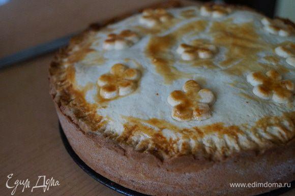 Выпекать пирог в разогретой до 180 градусов духовке 45-50 минут. После этого дать пирогу остыть и убрать в холодильник до полного остывания. Приятного чаепития!!!