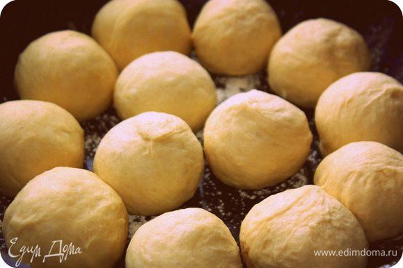 Когда тесто увеличится вдвое смазываем руки растительным маслом и формируем с теста шарики и укладываем в противень который тоже смазан маслом. оставляем тесто, оно должно немного подняться.