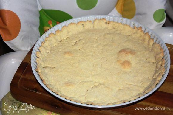 Раскатать охлажденное тесто и выложить в форму (у меня 28 см и теста хватило с натяжкой,берите форму поменьше), уберите в разогретую до 200 градусов духовку на 20 минут. Достаньте.