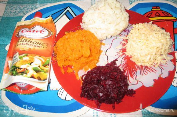 На мелкой тёрке натереть картошку, морковку, белки, желтки и сыр. Рыбу с маслом и размять вилкой.
