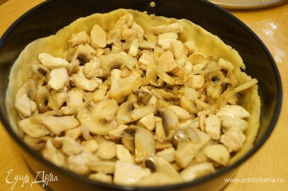 Выложить начинку на тесто и распределить по форме.