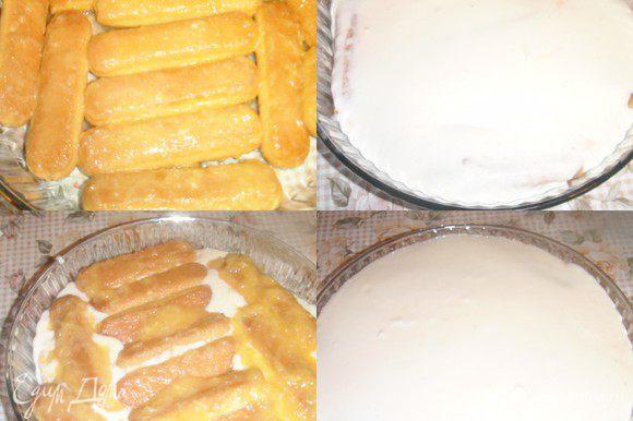 Выложенный одним слоем бисквит залить кремом,затем снова слой бисквита пропитанный мандариновым соком последним должен быть слой крема.