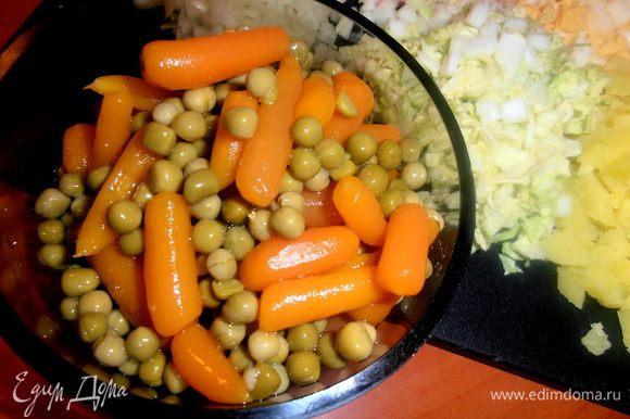 Я взяла готовую маленькую баночку MIX из горошка и морковки-очень удобно!