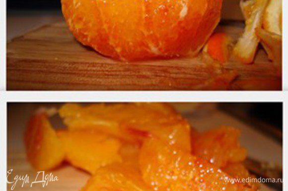 Апельcин освободить от шкурки. Каждую дольку от междольной пленки. Жидкость разлить по формочкам,сверху положить дольки апельсина.Выпекать 20 минут.