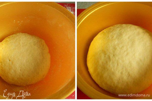 Тесто положить в миску, накрыть и убрать в тепло до удвоения в объёме, т.е. на 50-60 мин.