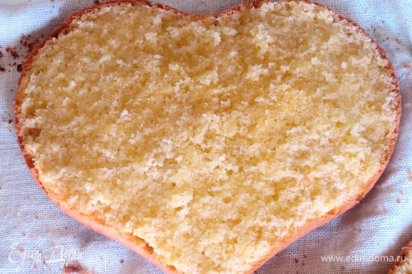 Сборка торта: Разрезать бисквит на 2 коржа. Пропитать коржи сиропом.
