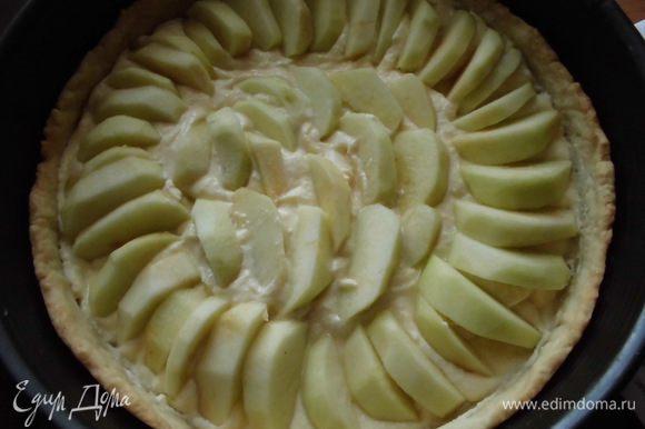 Песочную основу охладить, затем выложить творожную начинку и яблоки. Вернуть в духовку на 40 минут.
