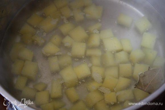 Бульон или воду довести до кипения и закинуть картофель,порезанный на небольшие кубики.Варить 10 минут при слабом кипении.