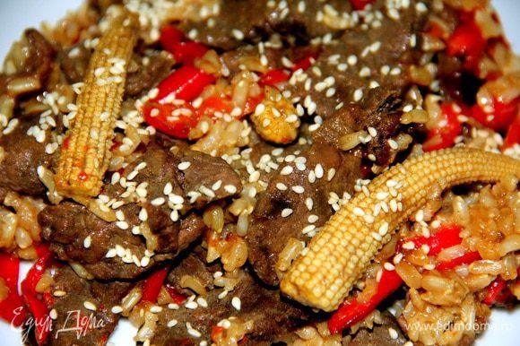 При подаче можно посыпать кунжутными семенами. Приятного аппетита!