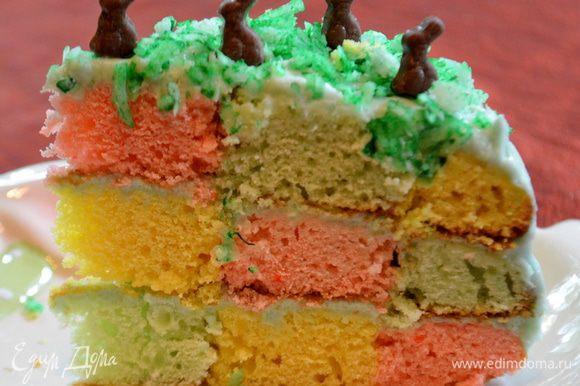 Разрезаем торт и подаем к столу. Приятного праздника и аппетита.