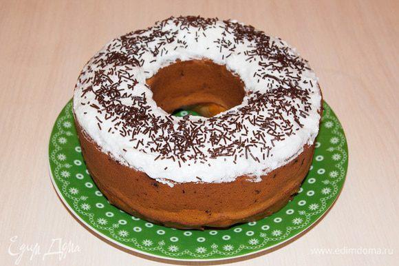 Готовый кекс можно украсить на свой вкус. Я люблю кекс в шоколадной глазури! Приятного аппетита!
