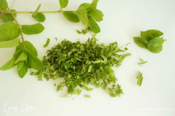 Оборвать листья мяты, помыть, обсушить и мелко нарезать.Йогурт смешать со щепоткой сахара и соли и половиной нарезанной мятой.