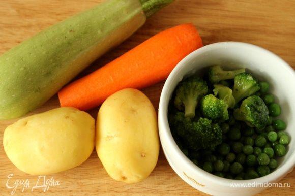 Подготовить овощи - помыть и очистить.
