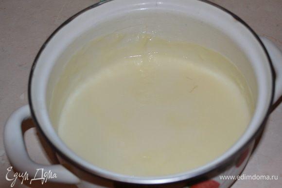 Молоко смешиваем с сахаром, ванильным сахаром и доводим до кипения. Крахмал растворяем в нескольких ложках молока и выливаем к молочной смеси, провариваем несколько минут, должен получится жидкий кисель. Охлаждаем молочную смесь сначала при комнатной температуре, затем в холодильнике.