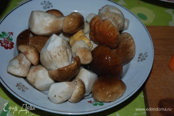 Готовим главный ингредиент - грибы - тщательно моем.