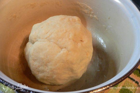 Просеять в большую миску муку, подмешать дрожжи, соль и сахар. Влить молоко и растертое яйцо, замесить тесто. Переложить на присыпанную мукой поверхность и вымесить тесто до эластичности (5 минут). Переложить в промасленную миску, накрыть пищевой пленкой и оставить на 1 час до увеличения в объеме вдвое.