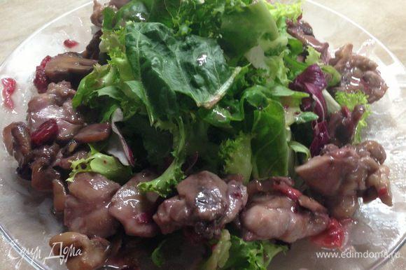 Вокруг выложить обжаренную смесь, полить образовавшимся соусом, листья салата полить ягодным соусом.