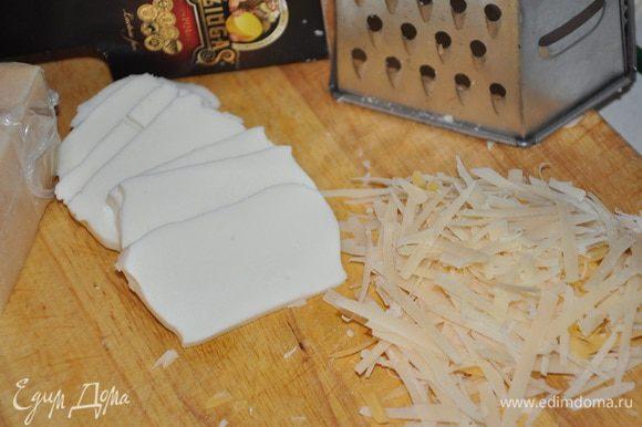 Сыр натереть на терке, моцареллу нарезать пластинками.