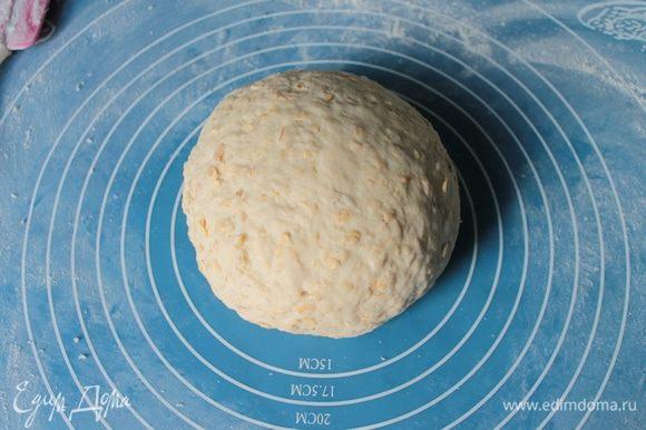 Постепенно добавлять остальную муку, замешивать тесто. Вымесить хорошо тесто.