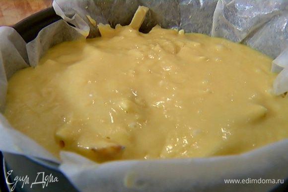 Разъемную форму выстелить бумагой для выпечки, смазать оставшимся сливочным маслом, выложить груши, посыпать измельченным шоколадом и залить все тестом.