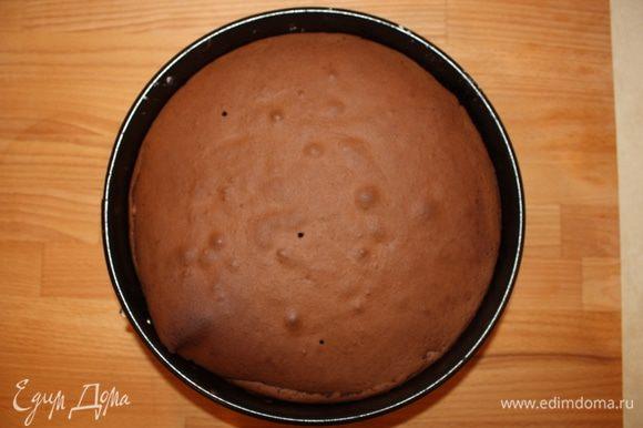 Выпекать 25-30 минут в предварительно разогретой духовке при температуре 180 градусов C, затем выключить духовку и дать торту остыть, оставив дверцу духовки приоткрытой. После того как тот остынет, аккуратно достать его из формы и посыпать сахарной ванильной пудрой.