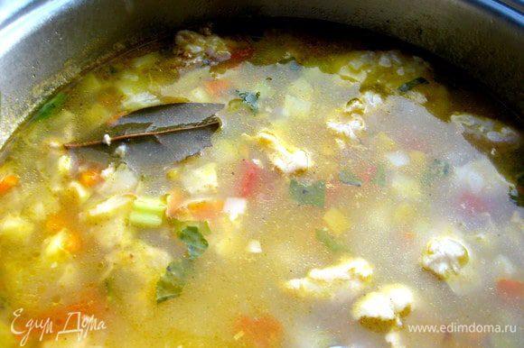 Варим до готовности крупы,но не развариваем её в кашу! Под крышкой выключенный суп ещё продолжит томиться,особенно в посуде цептер)) У меня очень быстро сварился...