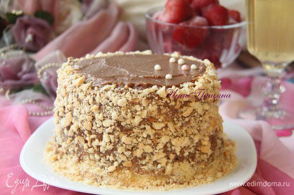 Украсить торт ореховой крошкой. Дать настояться в холодильнике пару часов. Приятного вам чаепития!!!