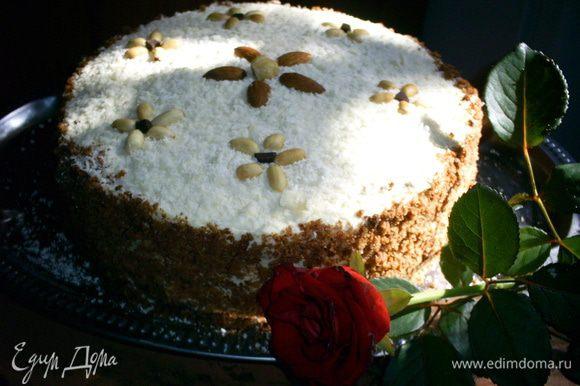 Дать готовому торту настоятся несколько часов в холодильнике. Лучше оставить на ночь. Приятного аппетита!!!