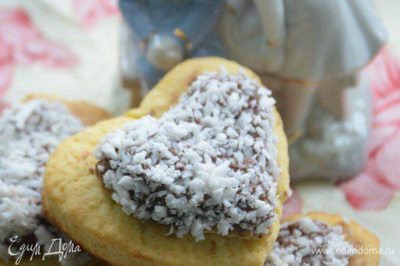 Вuon appetito!! Сердечки посыпать кокосовой стружкой (но это по желанию).