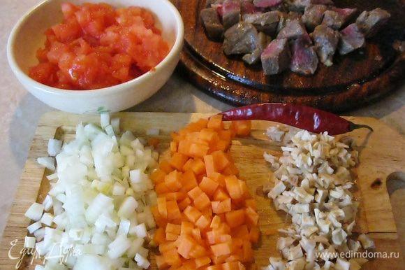 Говядину я нарезал небольшими кусками, мелко нарезал кусок свиного шпика (грамм 50-70), порубил головку репчатого лука и порезал кубиком одну морковь и помидор.