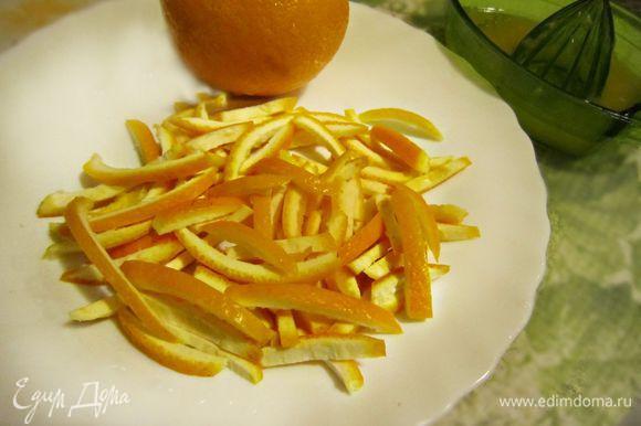Апельсин вымыть, срезать острым ножом цедру и нашинковать её тонкой соломкой, прпустить в небольшом количестве воды 2-3 мин. Из мякоти выжать сок.