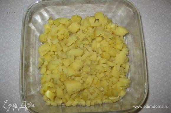 """На дно выкладываем тонким слоем оливковый майонез """"Слобода"""". Чистим отварной картофель в мундире. Режим его квадритиками и выкладываем 1-й слой."""