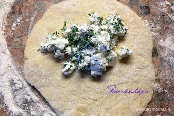 Тесто разделить на 10 частей, каждую раскатать в лепешку. Выложить начинку и защипить края, сформировать пирожок.