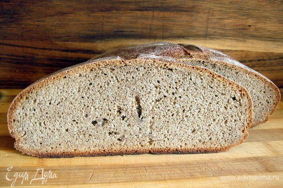 В это время разогреть до духовку до 200оС. Выпекать хлеб в разогретой духовке в течение 40-50 минут до полной готовности. Готовый хлеб выложить на решетку и остудить. Теперь хлеб можно нарезать и наслаждаться. Приятного аппетита!