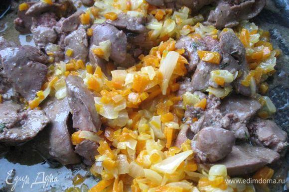 Слить молоко с печени с помощью дуршлага. Разогреть сковородку, положить на нее 30 г сливочного масла, печень, потушить пару минут. Добавить морковь и лук, посолить, поперчить (можно перец размять в ступке до среднего измельчения), листья тимьяна немного помять в ладонях и положить в смесь.