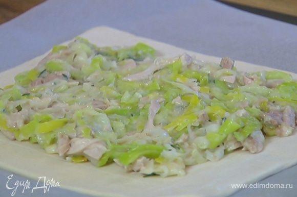 Противень выстелить бумагой для выпечки, поместить на нее раскатанное тесто и равномерно разложить начинку, оставив свободными надрезанные края.