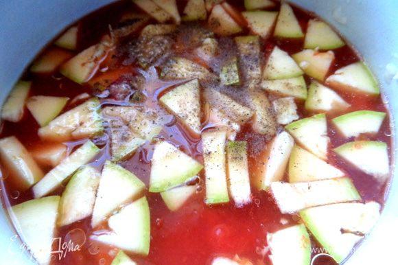 Поперчить, посолить + базилик и тушить минут 5-10 до готовности кабачка.